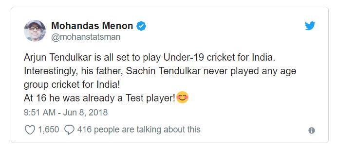 Arjun Tendulkar Selection Under-19
