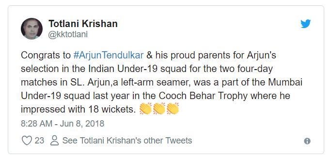 Arjun Tendulkar in Indian Team