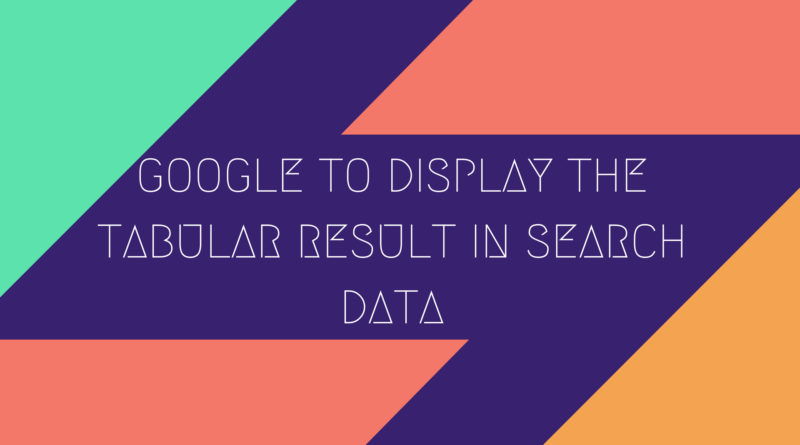 tabular result in search data